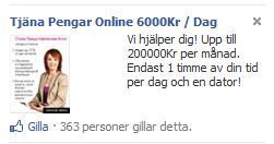 Tjäna Pengar-annonsen på Facebook